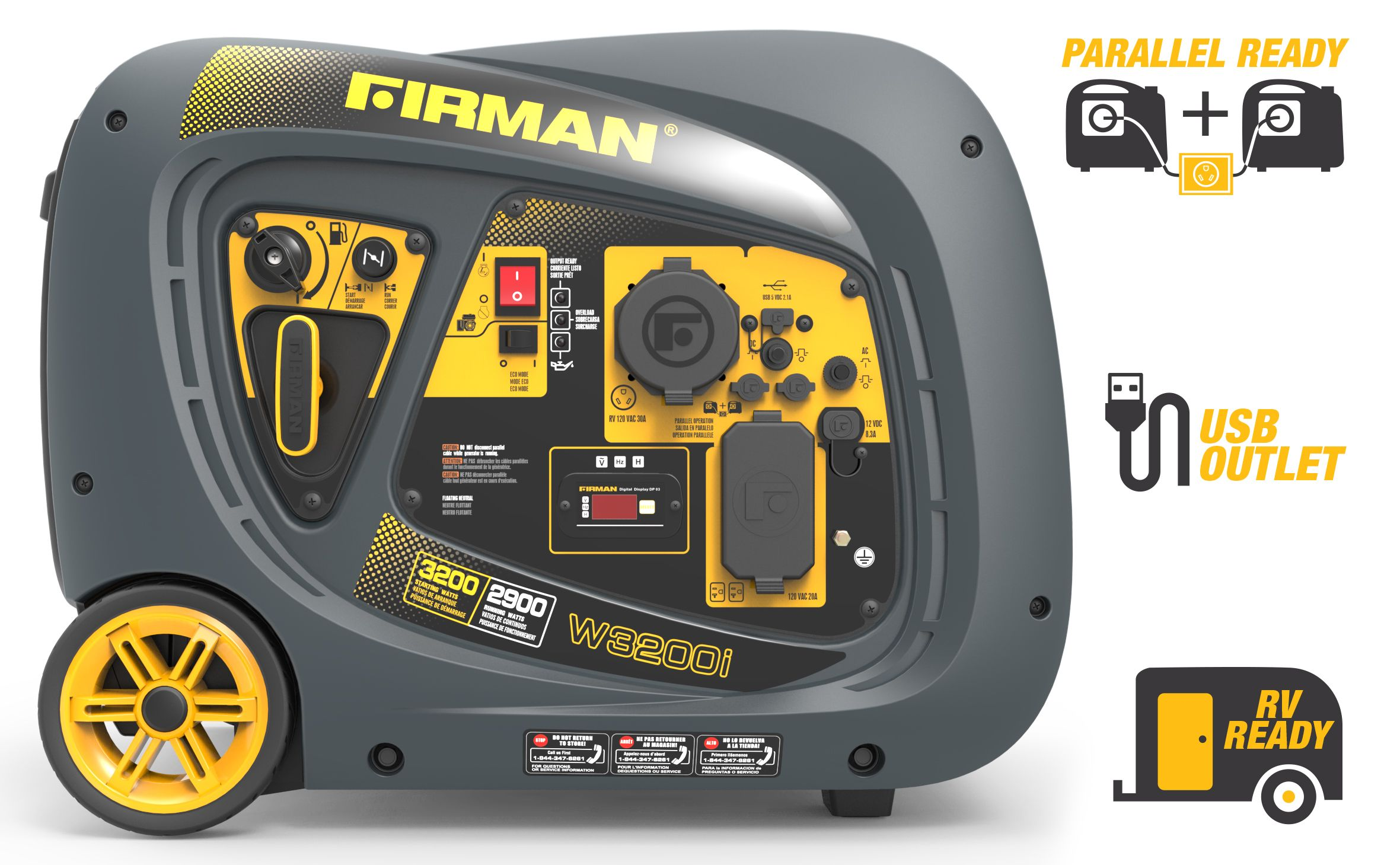 Firman 2900W Running / 3200W Peak Gasoline Powered Inverter Generator