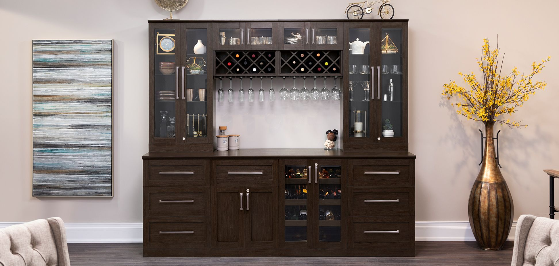 Home Wine Bar 9 Piece Cabinetry Set By Newage Products