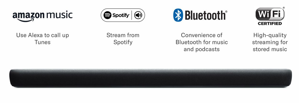 Sound bar with Amazon Music, Spotify Connect, Bluetooth and Wi-Fi logos