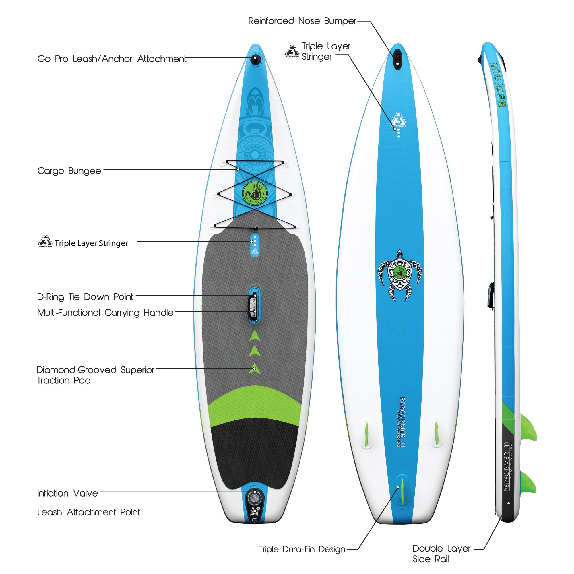 158f17f8dd Body Glove Performer 11' Inflatable Stand Up Paddle Board Package