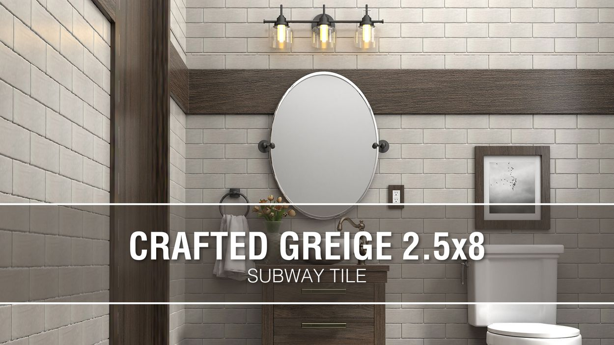 - Boutique Ceramic Boutique Crafted Greige 2.5x8 2-1/2-in X 8-in