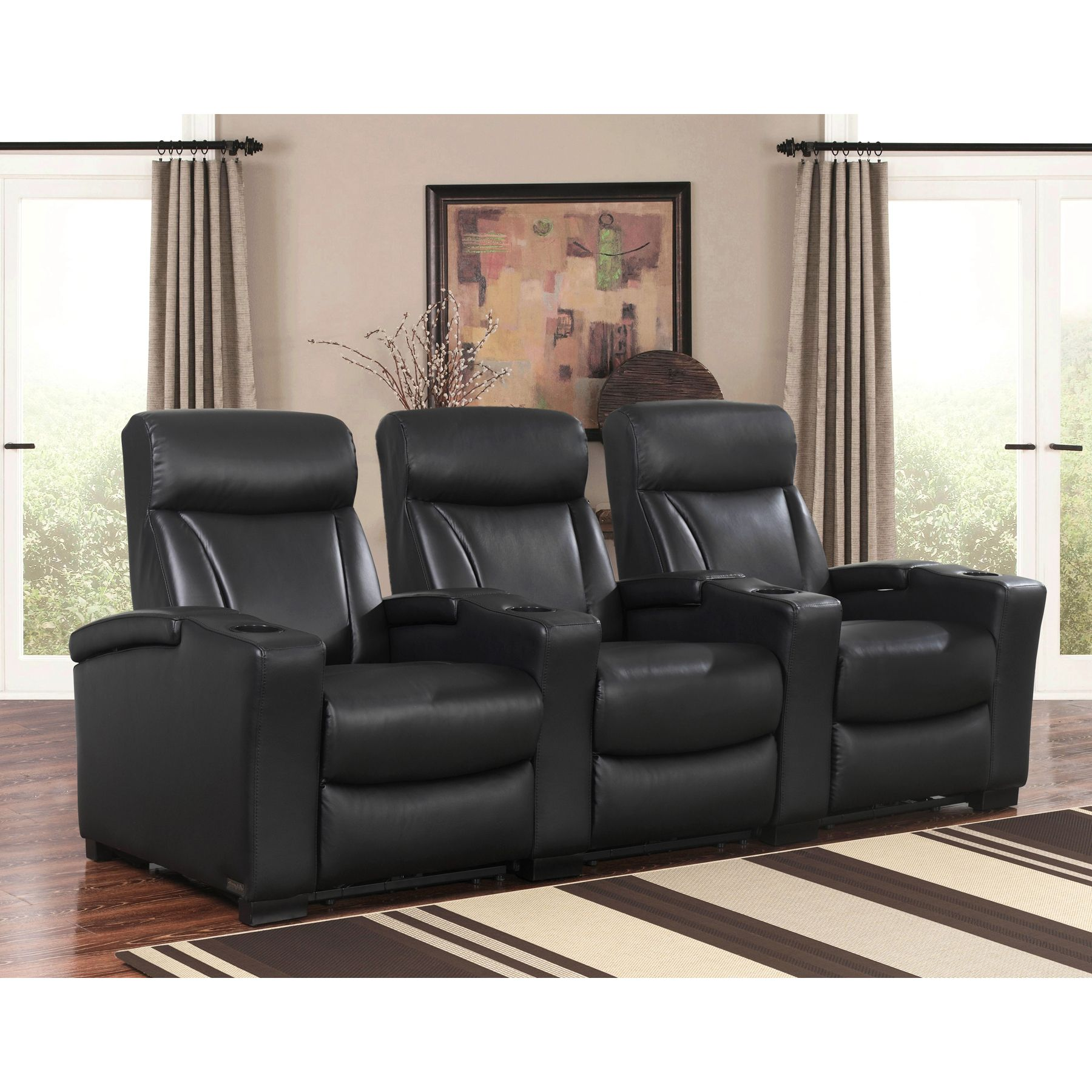 Romano 3-piece Top Grain Leather Power Media Recliners Living ...