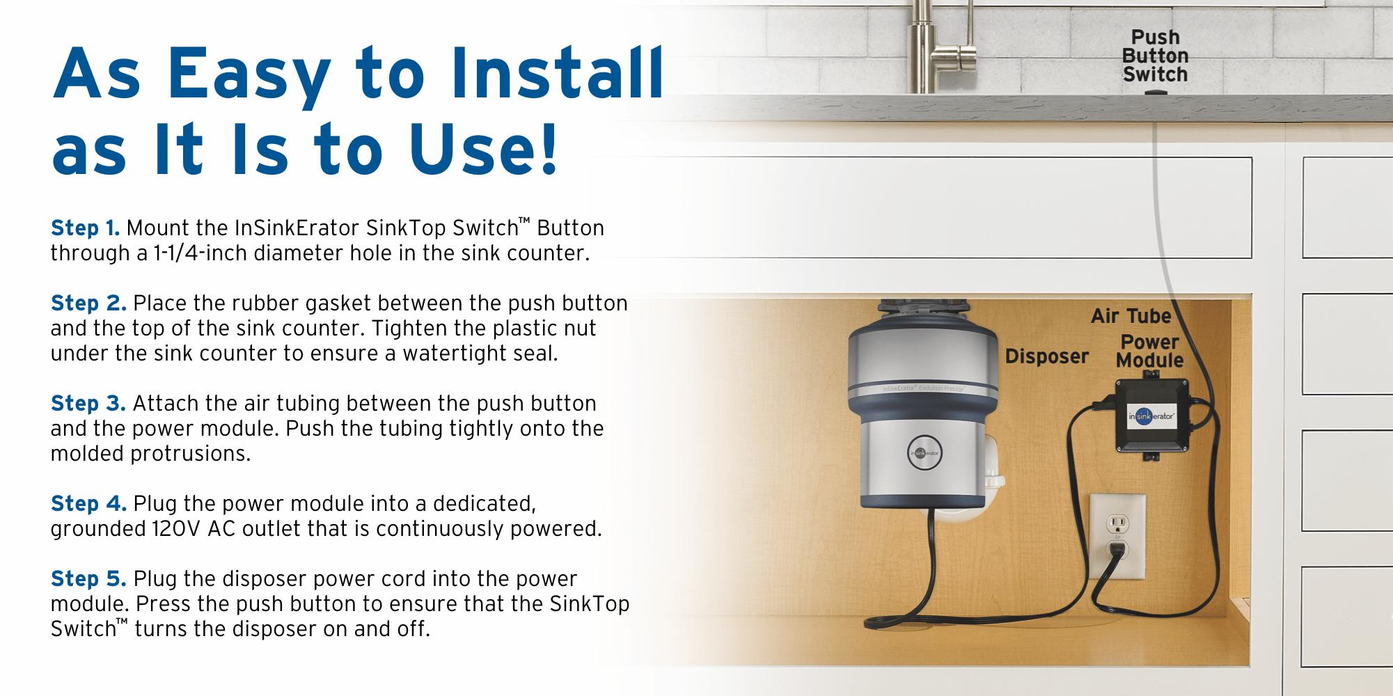 InSinkErator SinkTop Switch 7 5-in Satin Nickel Plastic Garbage