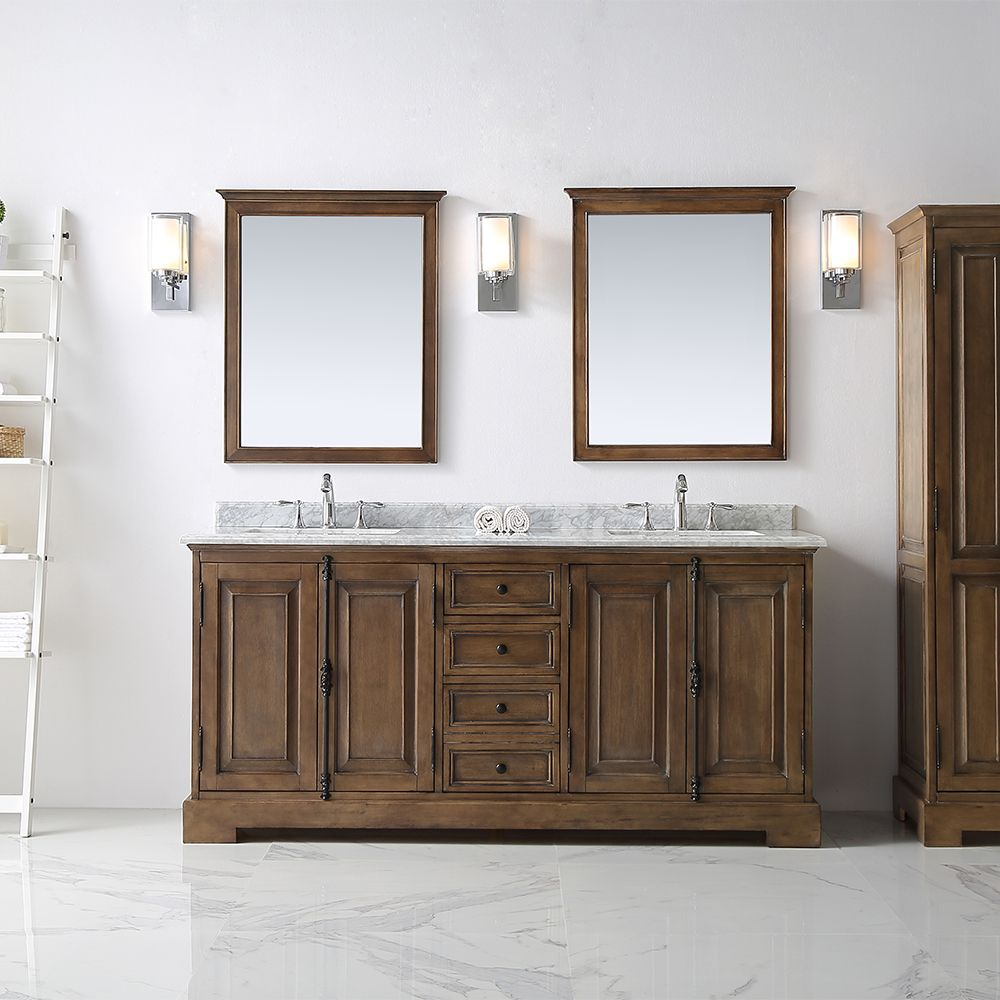 Ove Clinton 72 In Double Bathroom Vanity In Almond Stain With