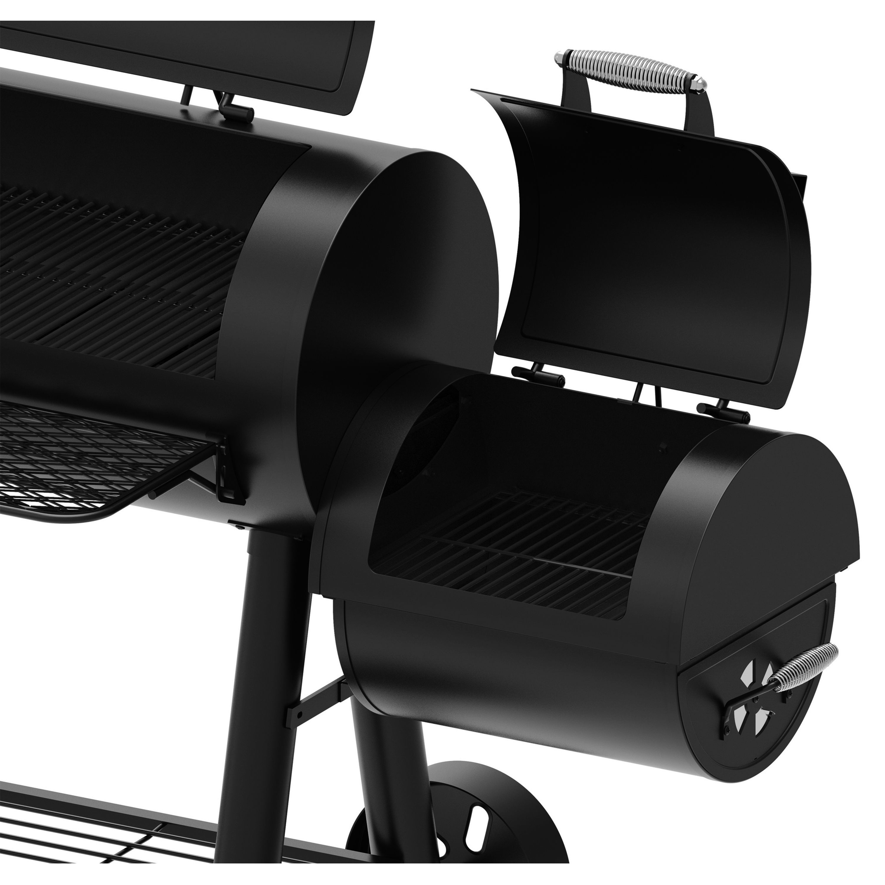 Dyna-Glo Signature Series Barrel Charcoal BBQ Grill and Side Firebox with  Cover