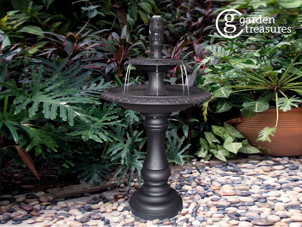 Garden Treasures 34.6-in Metal Tiered Rust-resistant Aluminum Outdoor Pump