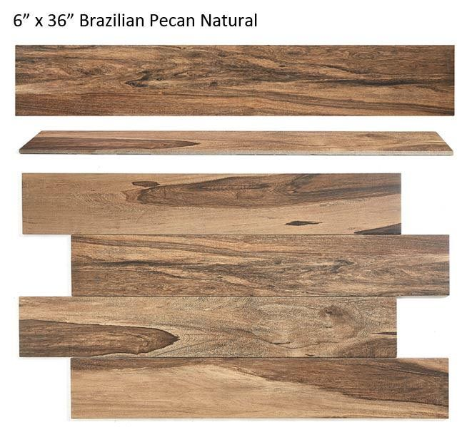 Style Selections Brazilian Pecan Natural 6-in x 36-in Porcelain Wood