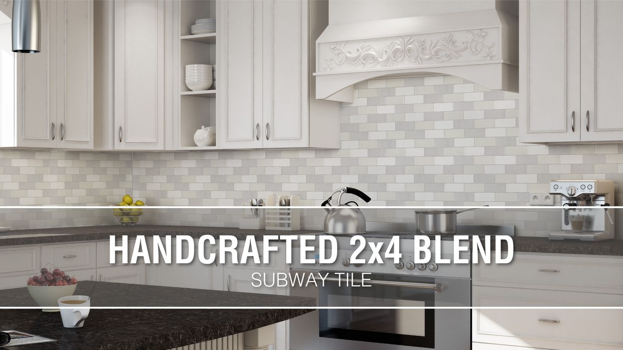 - Boutique Ceramic Handcrafted Blend 2x4 Mosaic 12-in X 12-in Glazed