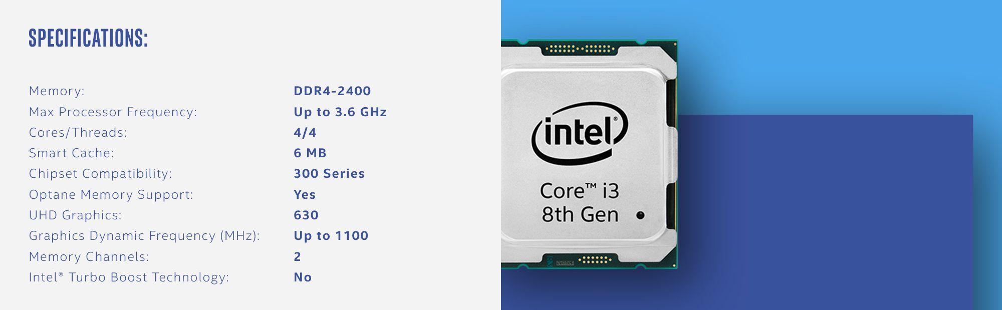 Intel Core i3-8100 Coffee Lake Quad-Core 3 6 GHz LGA 1151
