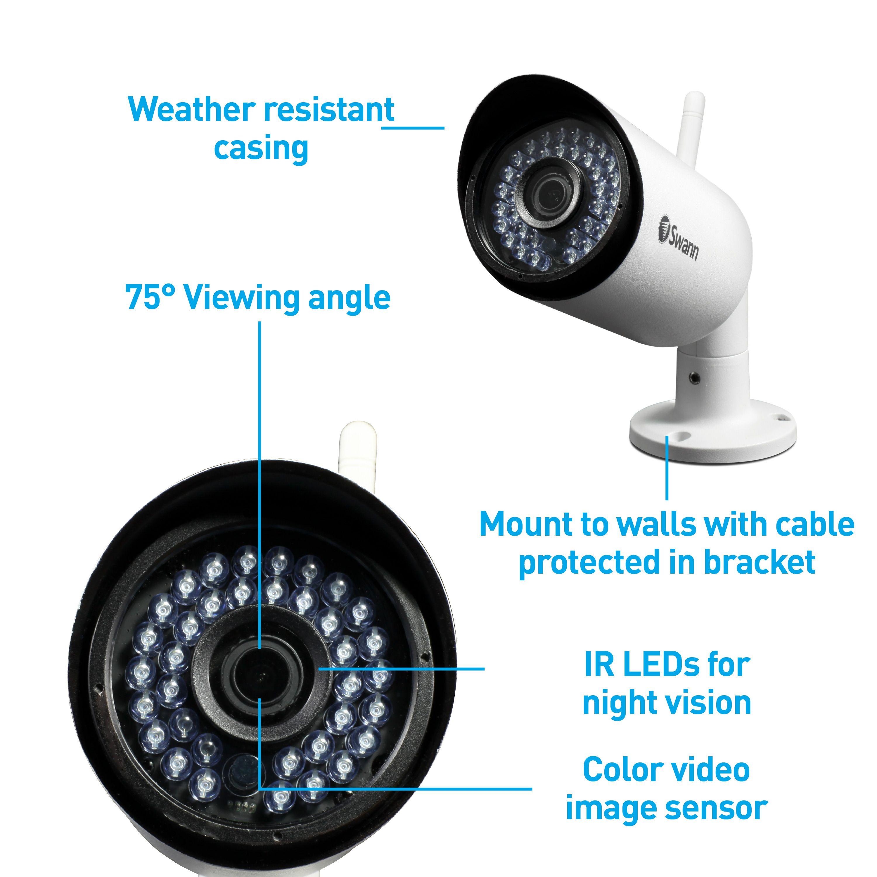 Swann 485 Digital Wireless Outdoor 2 Security Camera Kit with Night