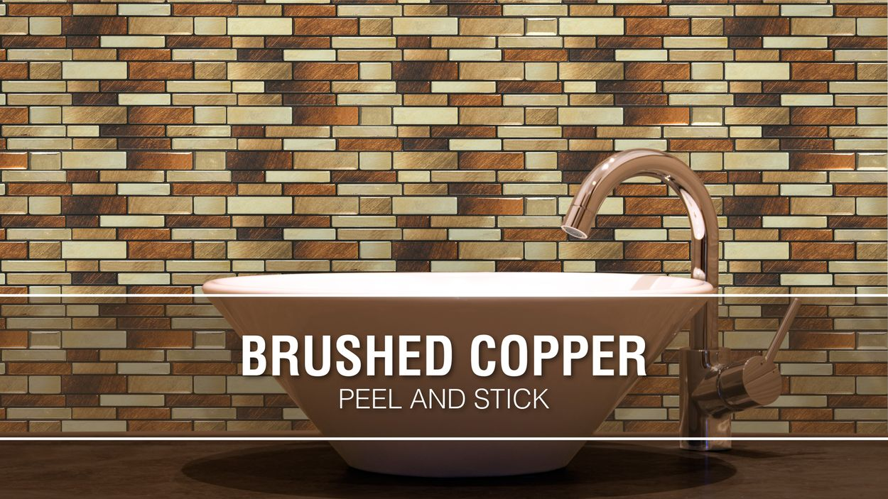 - Peel&Stick Mosaics Peel And Stick Brushed Copper 10-in X 10-in