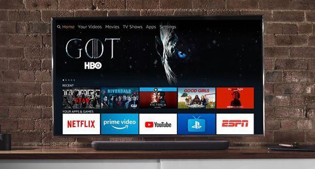 TV showing Fire TV startup screen