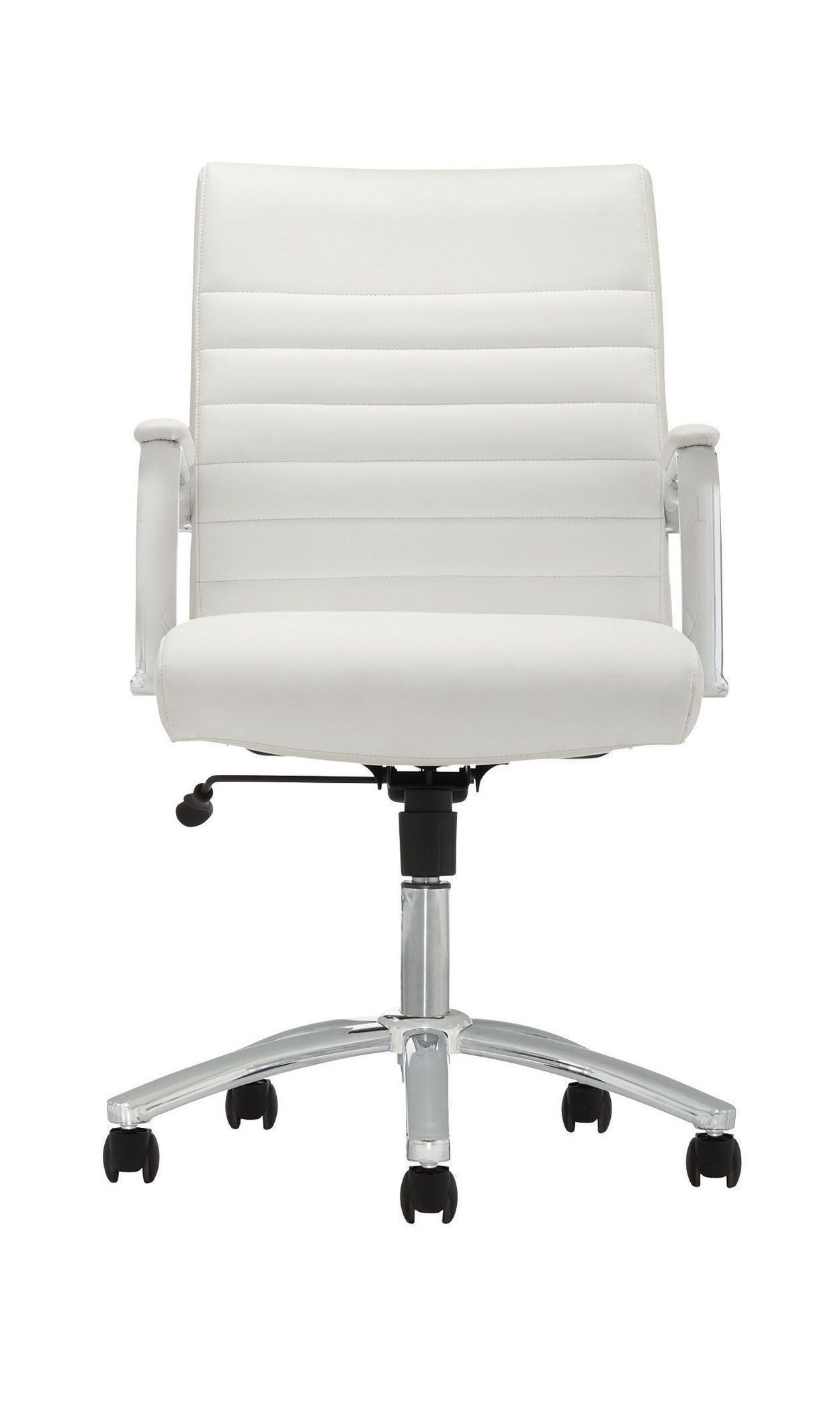 Realspace® Modern Comfort Winsley Bonded Leather Managerial Mid-Back Chair,  White/Silver Item # 907932