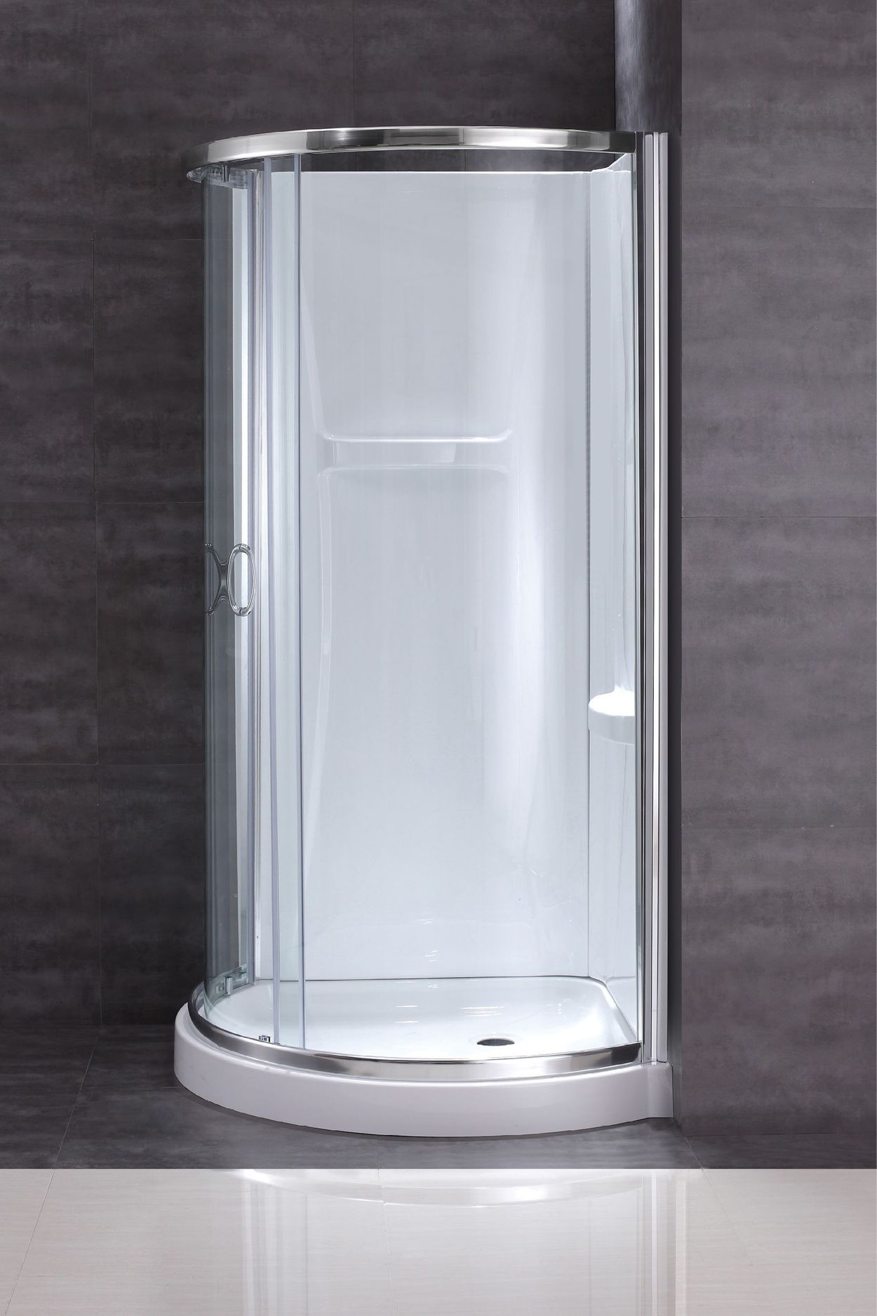 Breeze Chrome Acrylic Wall Floor Round 4 Piece Corner Shower Kit Actual 76 In X 34 In X 34 In