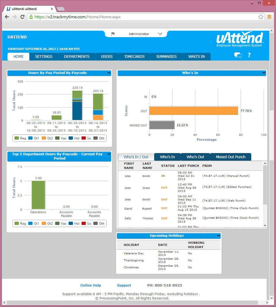uAttend BN5500 Wi-Fi Biometric Fingerprint Time Clock