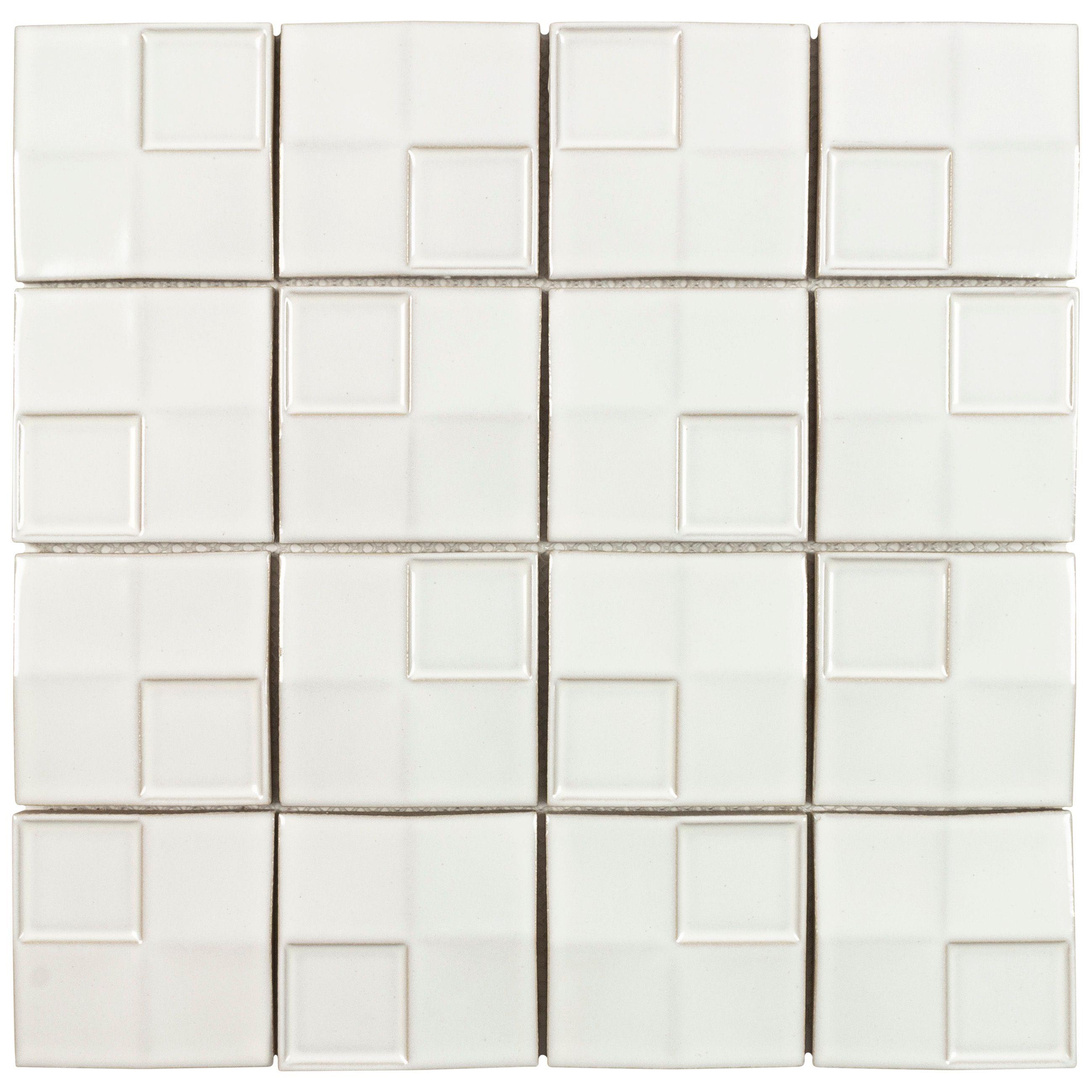 White 12 In X Glazed Ceramic