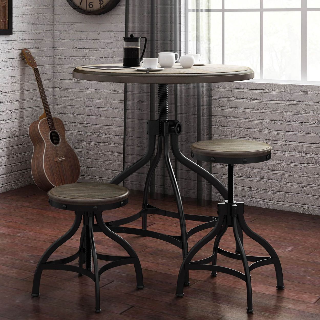 Groovy Set Of 2 Brown Adjustable Stool Beatyapartments Chair Design Images Beatyapartmentscom