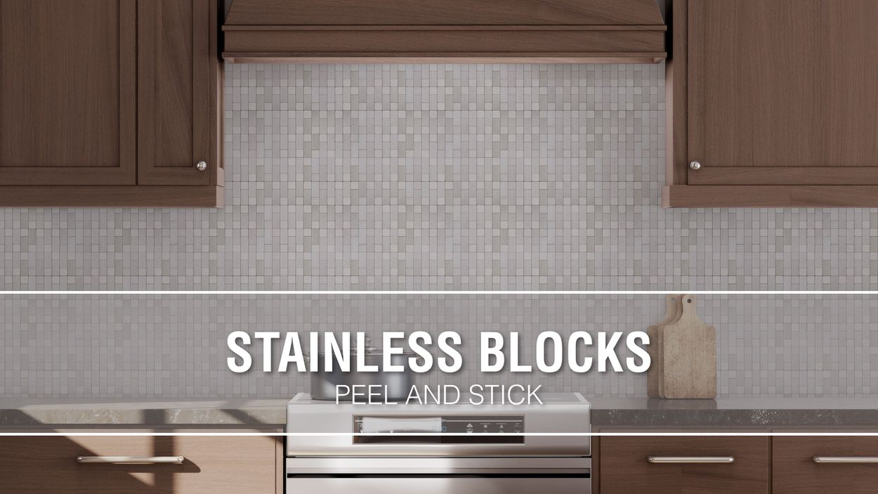 - Peel&Stick Mosaics Peel And Stick Stainless-Block 12-in X 12-in