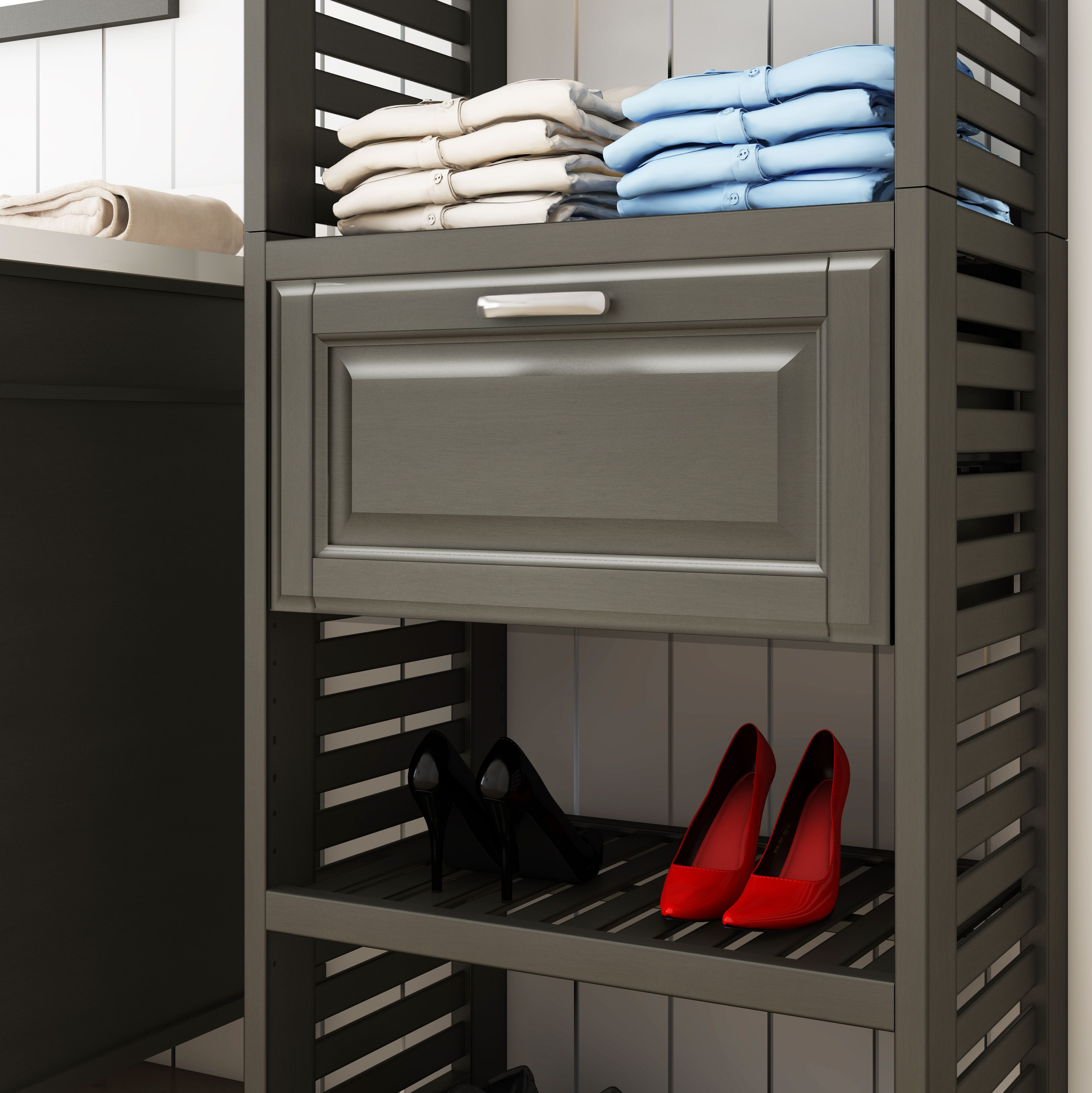 Allen + roth 8-ft W x 6 6-ft H Antique Gray Wood Closet Kit at Lowes com