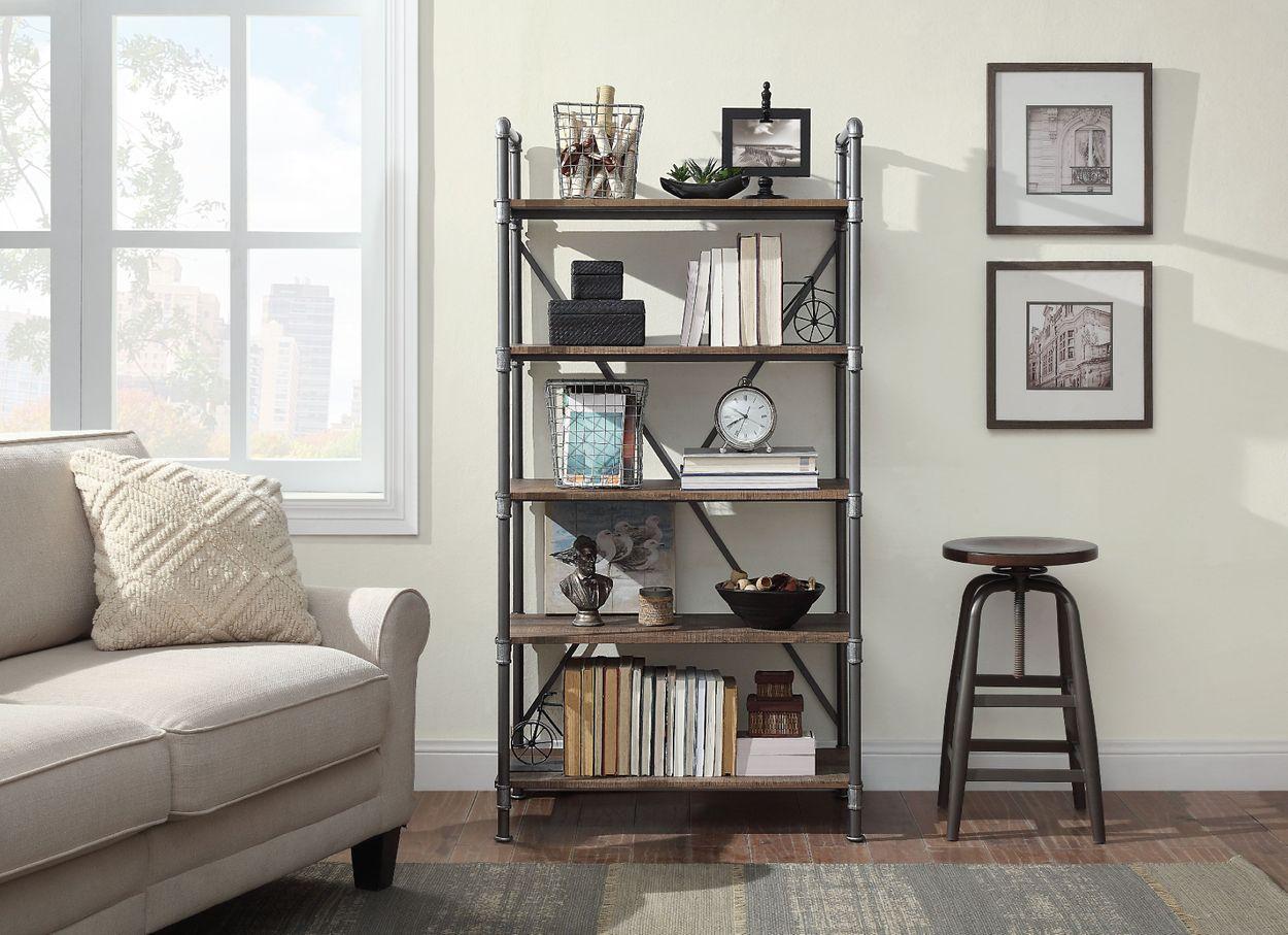 Distressed Brown Metal 5 Shelf Bookcase