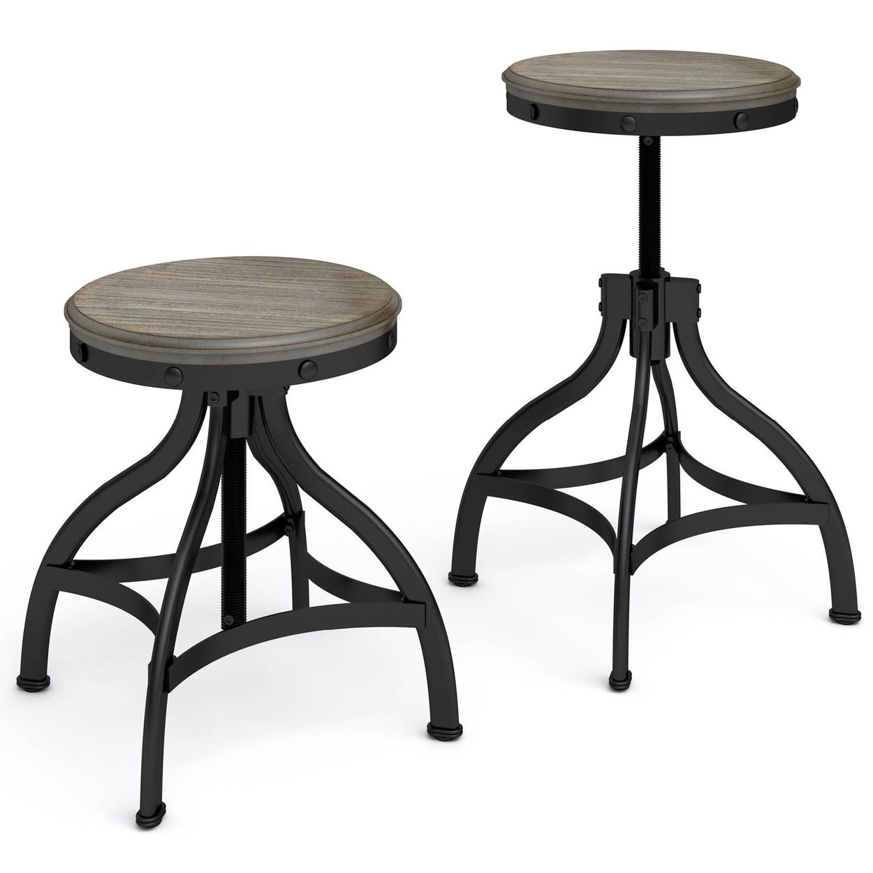 Magnificent Set Of 2 Brown Adjustable Stool Beatyapartments Chair Design Images Beatyapartmentscom