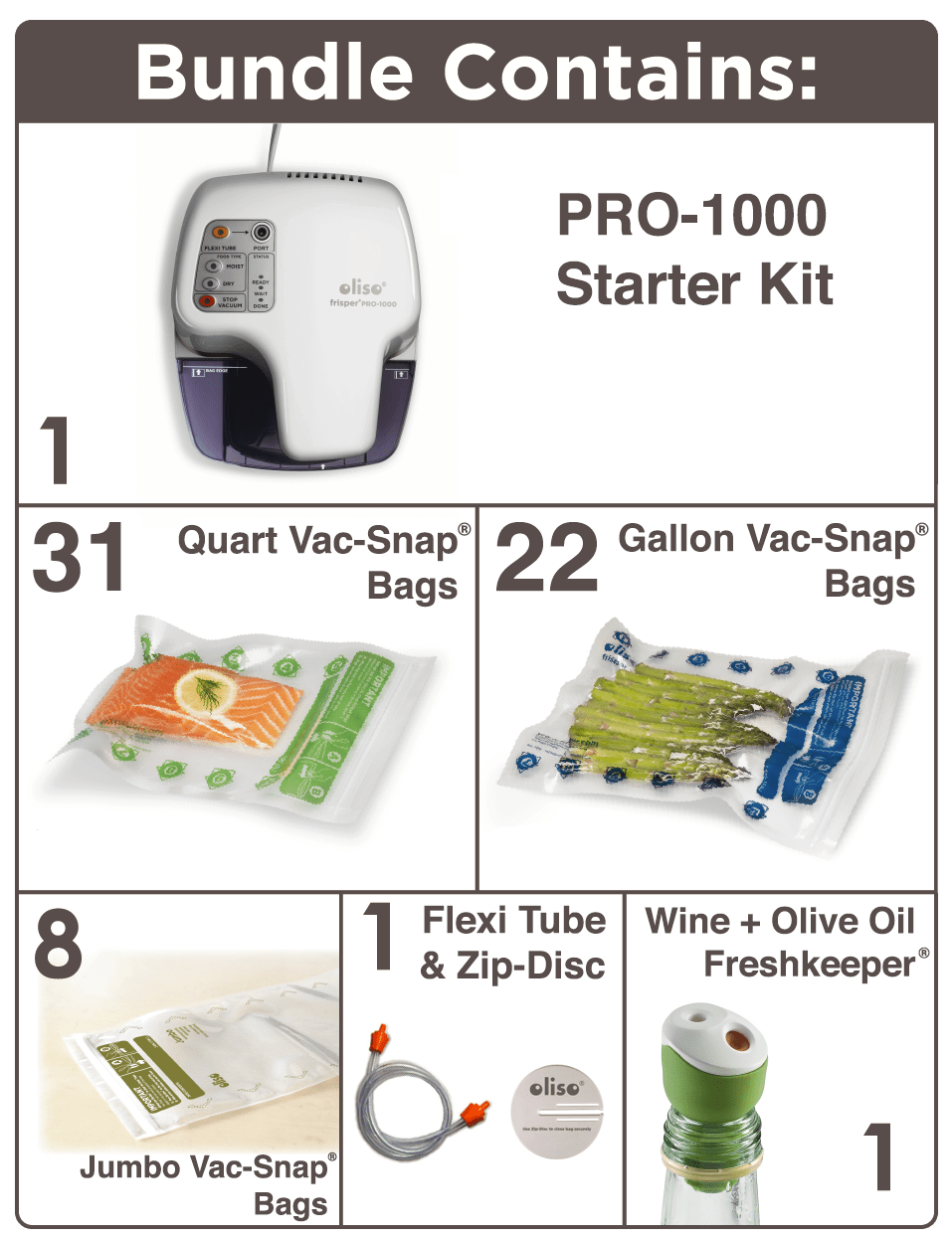 Oliso Pro-1000 Vacuum Food Sealer Deluxe Kit