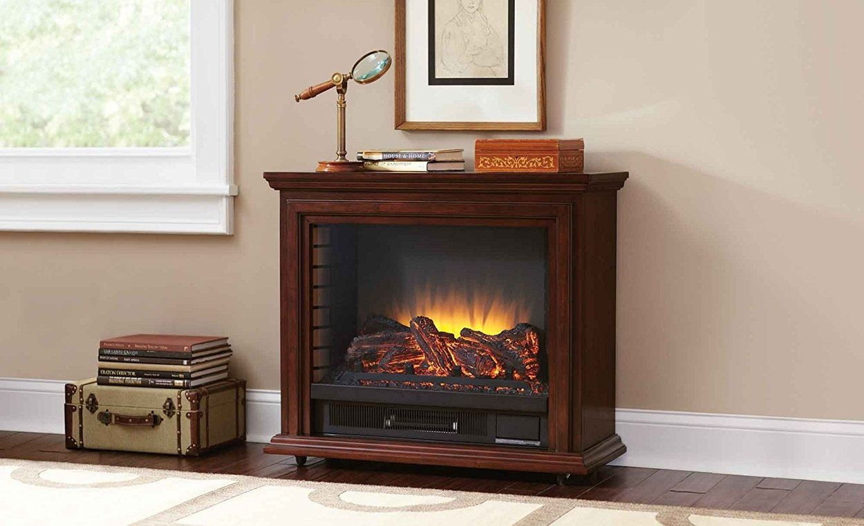 Pleasant Hearth 31 75 In W Cherry Fan Forced Electric Fireplace At