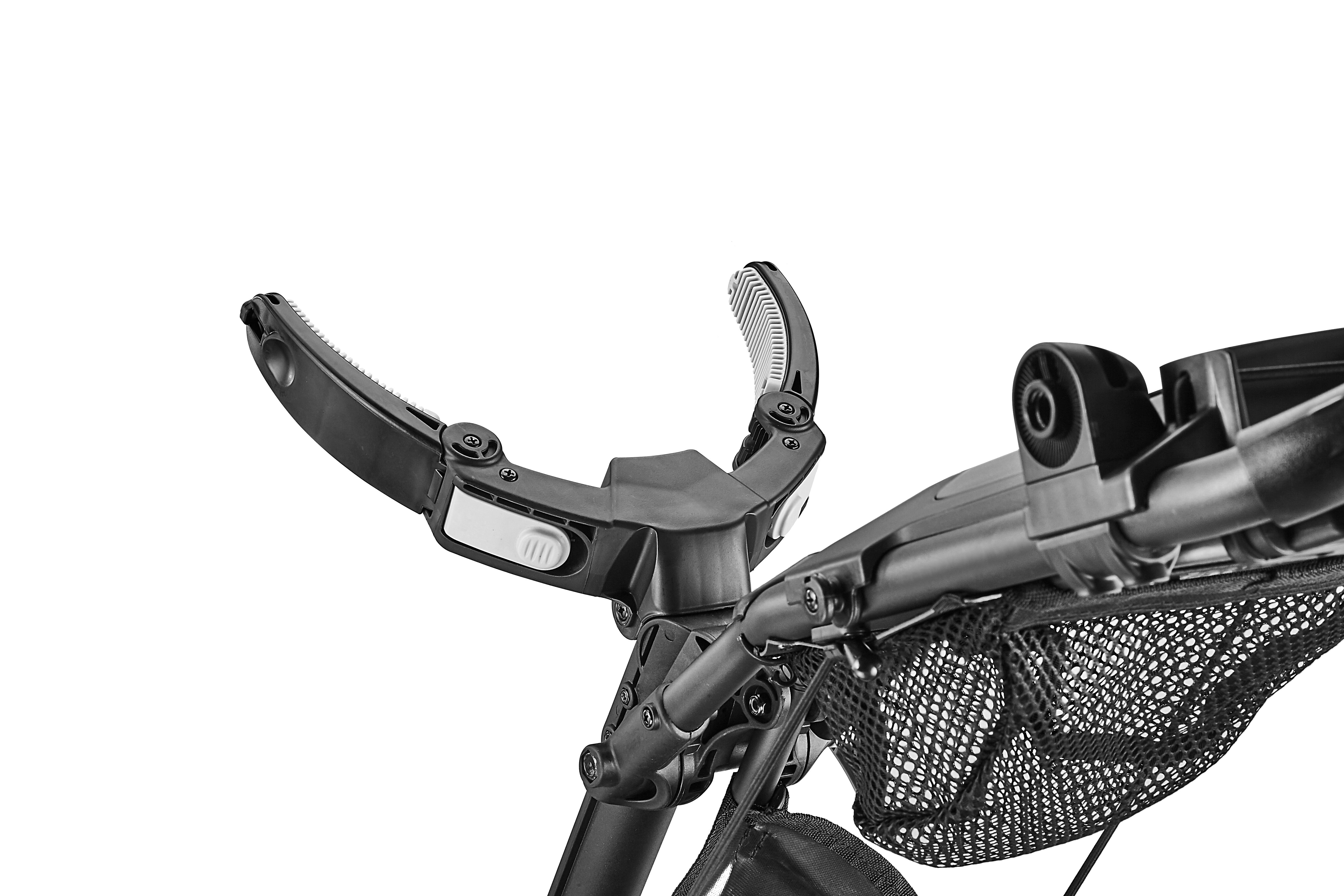 Clamp style bag holder secure all types and sizes of golf bag easily