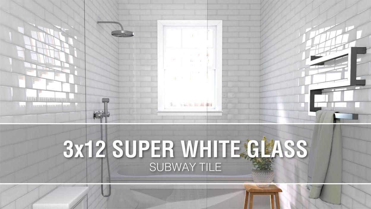 - Elida Ceramica 3x12 Super White Glass 3-in X 12-in Glossy Glass